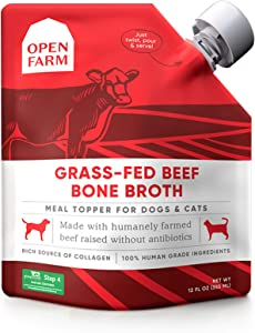 Open Farm Bone Broth, Food Topper for Both Dogs and Cats with Responsibly Sourced Meat and Superfoods Without Artificial Flavors or Preservatives, 12oz