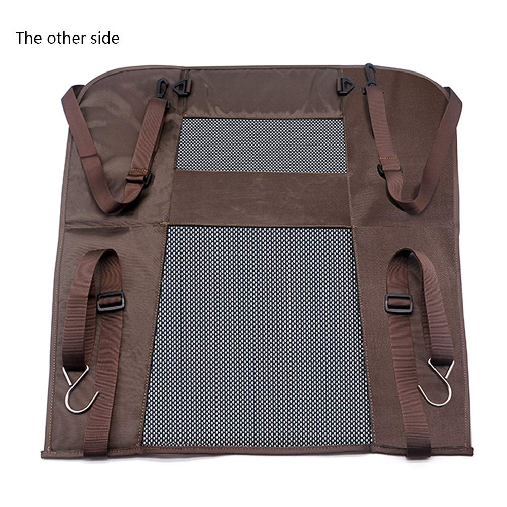 Wellbro Luxury Durable Nylon Net and Oxford Cloth Pet Barrier, Padded Vehicle Travel Dog Barriers, Waterproof and Safe, Keep Dogs in Back Seat, Fits All Cars 24'' Long x 24'' Wide (Brown) by Wellbro (Image #2)