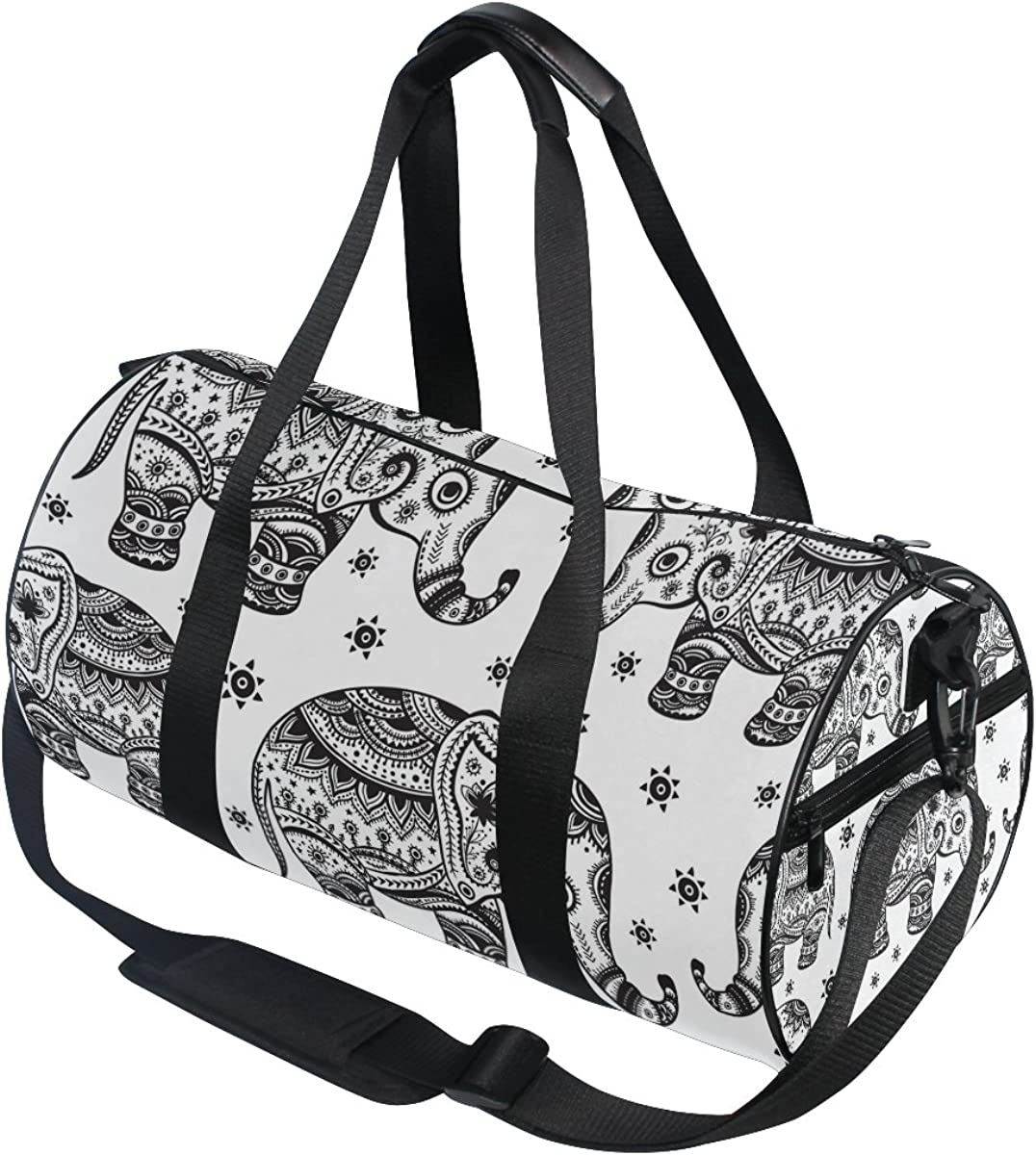 Evolutions Amazing Elephants Aztec Duffels Bag Sports Gym Bags for Men /& Women