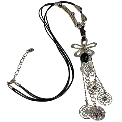 Lagenlook quirky flower silver tone style black leather cord long necklace Z28keaCG