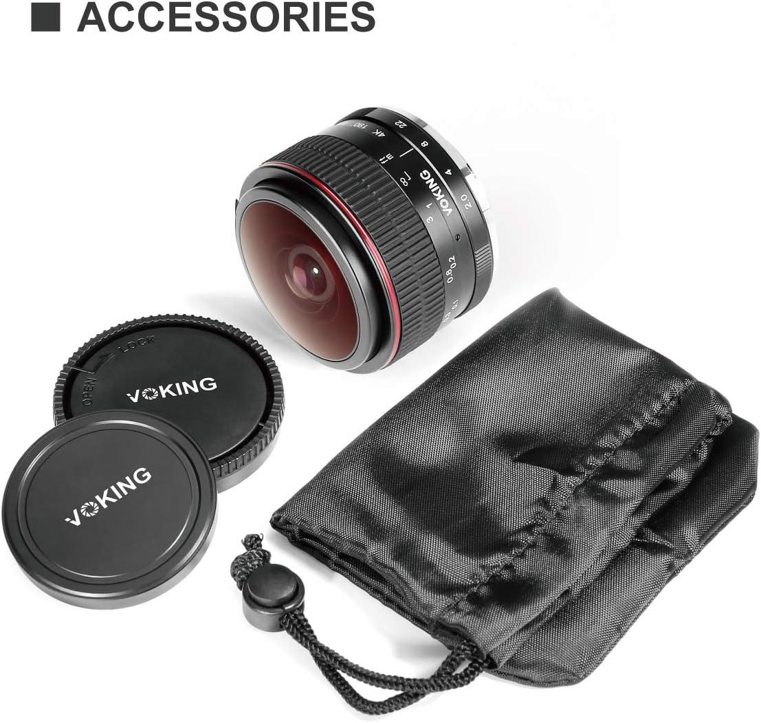 Voking VK-6.5mm f//2.0 Ultra Wide Manual Focus Circular Fisheye Lens for M43 Panasonic Olympus Micro Four Thirds MFT Mirrorless Cameras