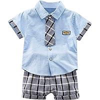 Gentiluomo - Conjunto de verano para niño de 1 a 4 años, 2 piezas, camisa polo de manga corta con corbata + pantalones…
