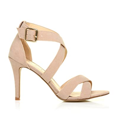 bc1ac81a2b6 ShuWish UK Sophie Nude Faux Suede Strappy High Heel Sandals  Amazon.co.uk   Shoes   Bags