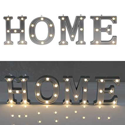 Decorative Illuminated Marquee Word Sign (Silver Color 4.21u0026quot; Tall)    Lighted Letter Words