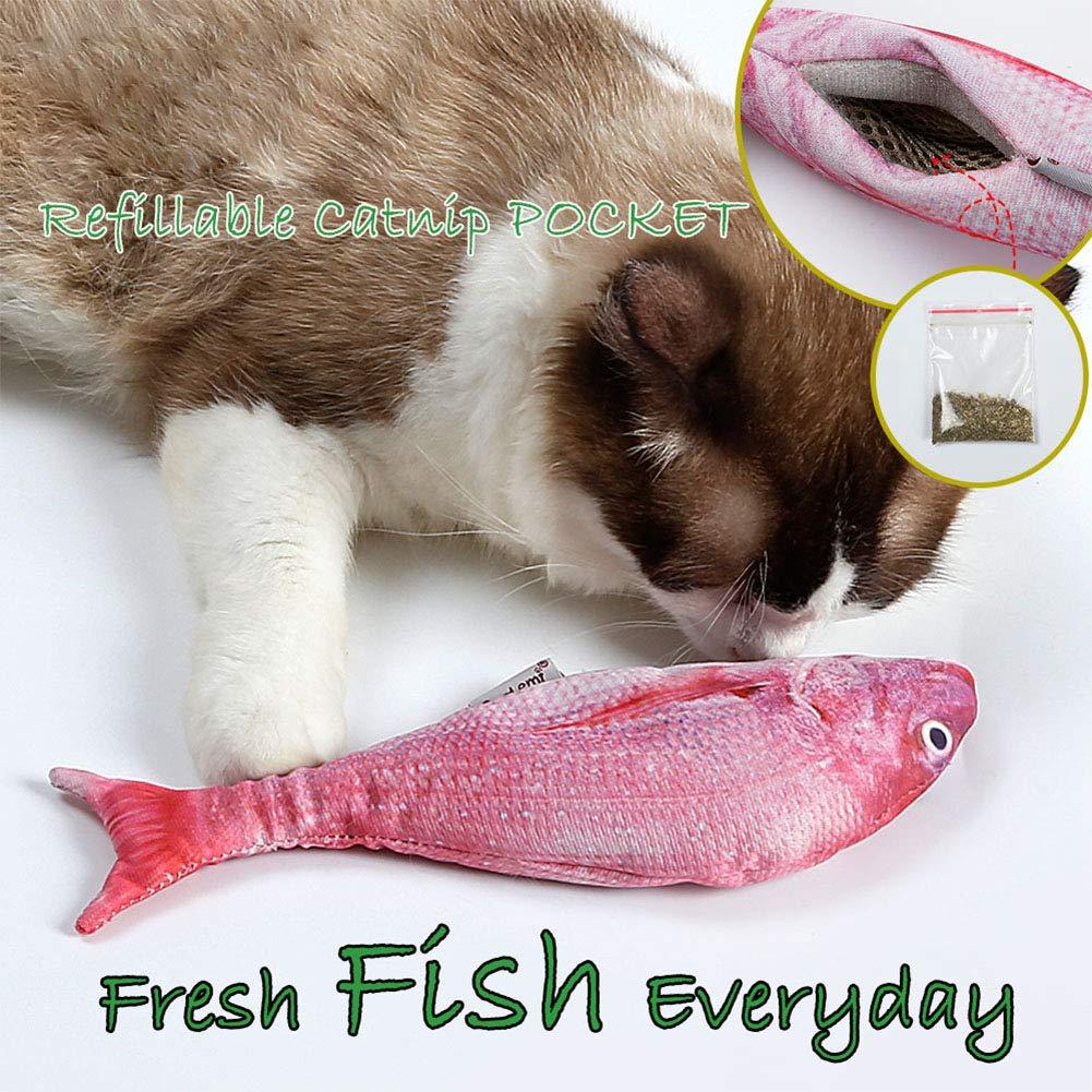 Zantec Giocattolo per Gatti Simula i Pesci con Catnip Interactive Toy for Pets Cats Rosa