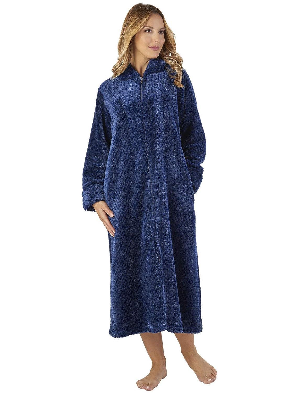 TALLA L. Slenderella HC2331 Women's Waffle Flannel Robe Loungewear Bath Dressing Gown