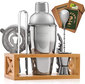 Mixology Bartender Kit with Stand - Rustproof Cocktail Set - Bar Sets for the Home with Cocktail Kit Cards - Bar Kit for a Special Gift for Him or Her - Stainless Steel Bartender Set - Bar Tool Set