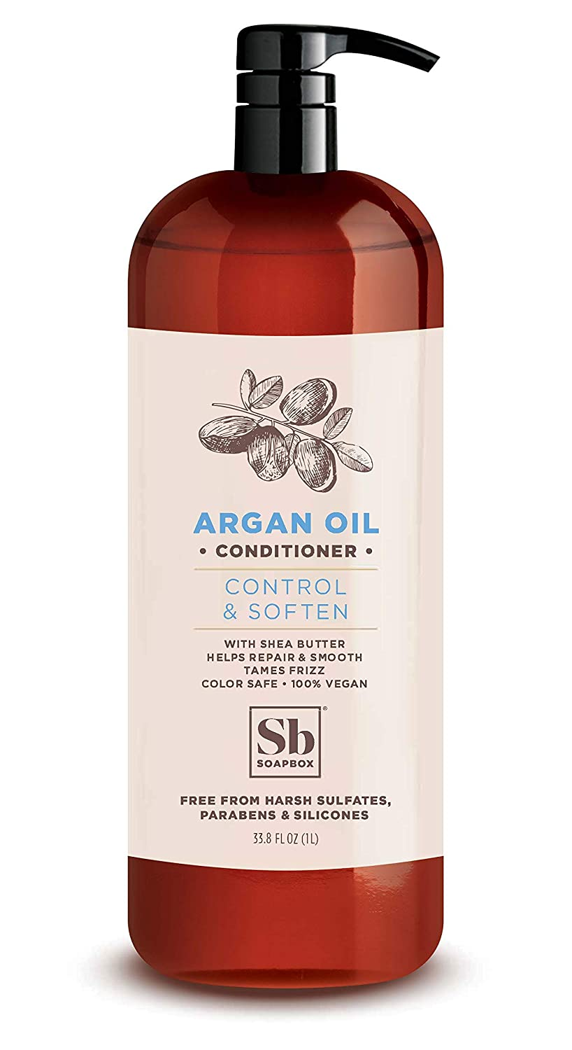 Soapbox Argan Oil Conditioner, Sulfate Free, Paraben Free, Silicone Free, Color Safe, and Vegan Hair Conditioner (33.8oz, Pack of 1)
