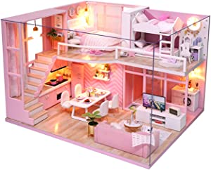 Ogrmar 1:24 Scale Dollhouse Miniature with Furniture, DIY Dollhouse Handmade Mini Apartment Model Kit Plus Dust Cover & LED Light, Creative Room Toys for Children Gift (Dream Angels)