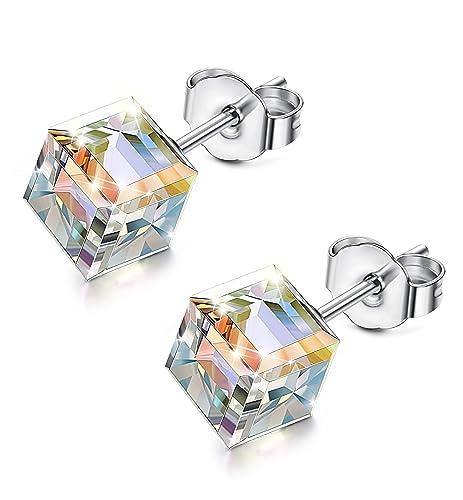 8ed9a6003ddd Sllaiss 925 Plata Pendientes para Mujer Ninã con Cristales Swarovski  Originale Arete Pendiente  Amazon.es  Joyería