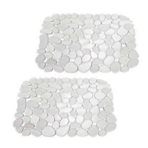"""mDesign Adjustable Kitchen Sink Dish Drying Mat/Grid - Soft Plastic Sink Protector - Cushions Sinks, Stemware, Glasses, Dishes - Quick Draining Pebble Design - Small, 13.5"""" Long - 2 Pack - Clear"""