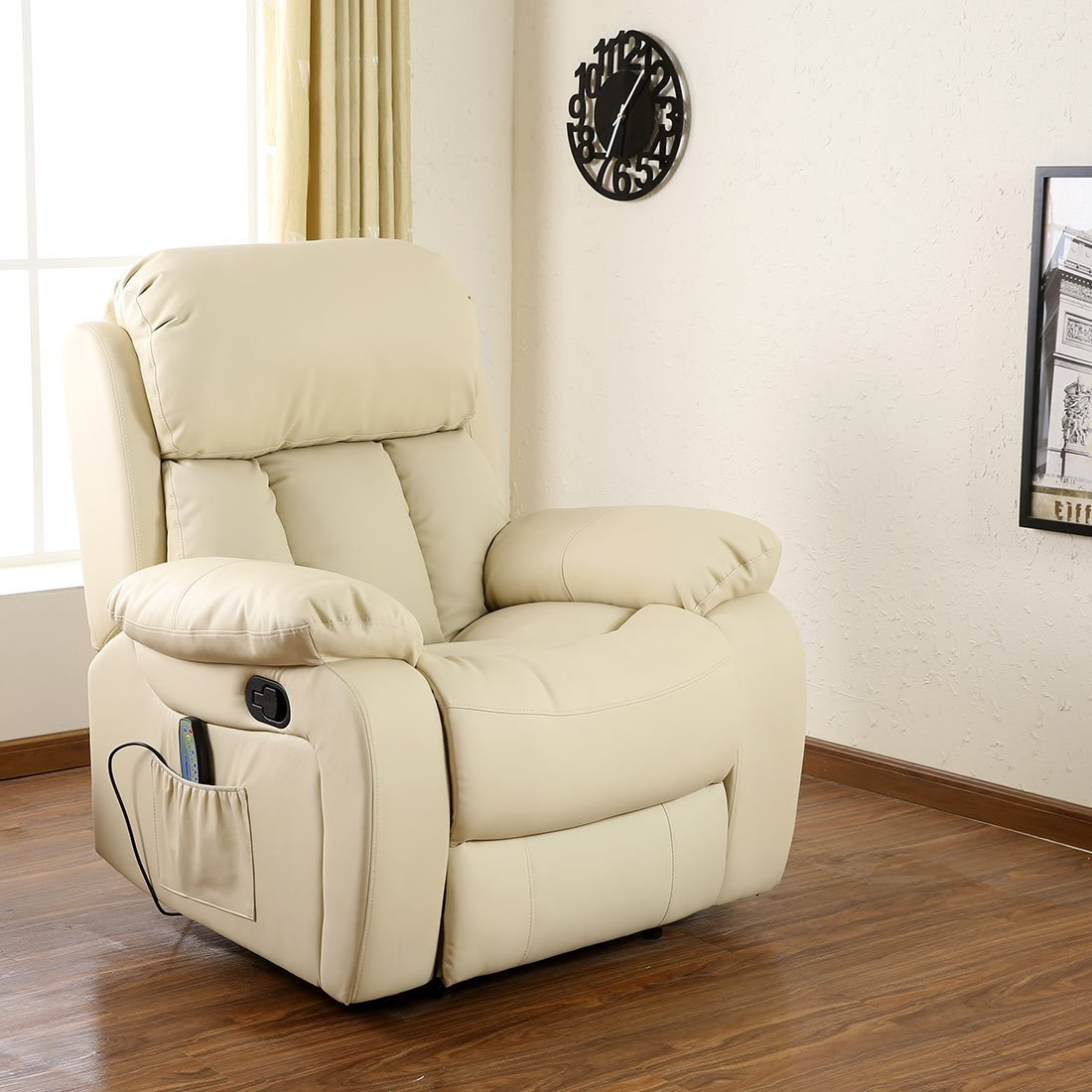 Chester Heated Leather Massage Recliner Chair Sofa Lounge Gaming  ~ Cream Leather Reclining Sofa