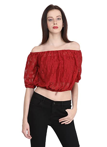 ee6f3fb233 Martini Off Shoulder Lace Top with Attached Tube (Maroon