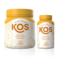 KOS Oragnic Cordyceps Powder + Organic Cordyceps Capsules Bundle