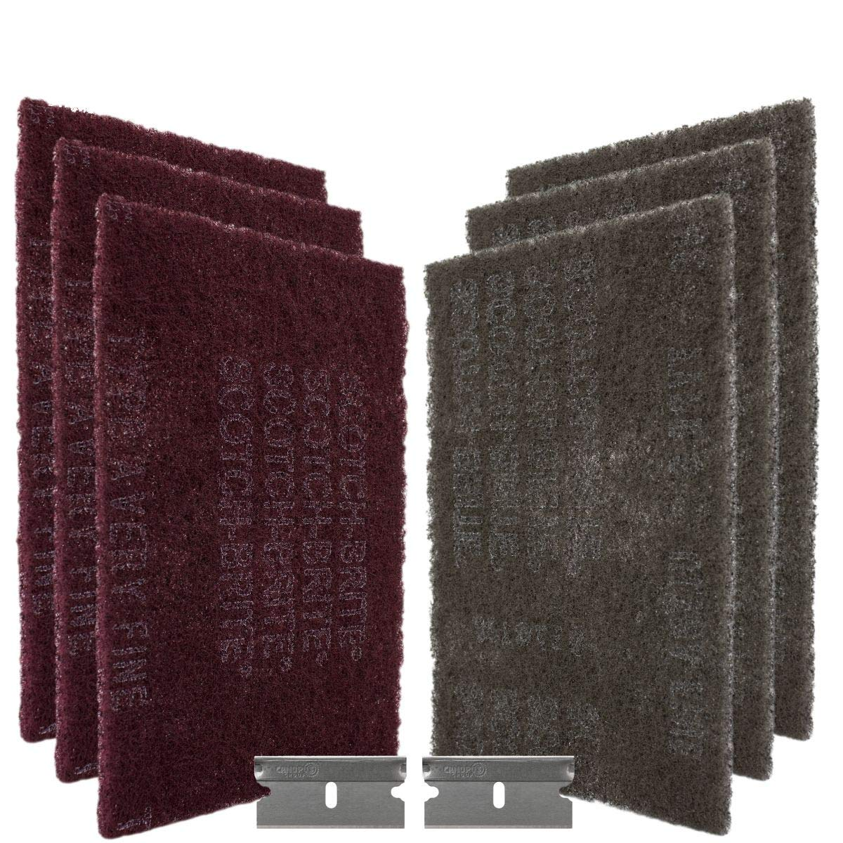 Canopus - 3M Scotch Brite Pads - Scouring Hand Pads to Scuff, Grey and Red (3+3)