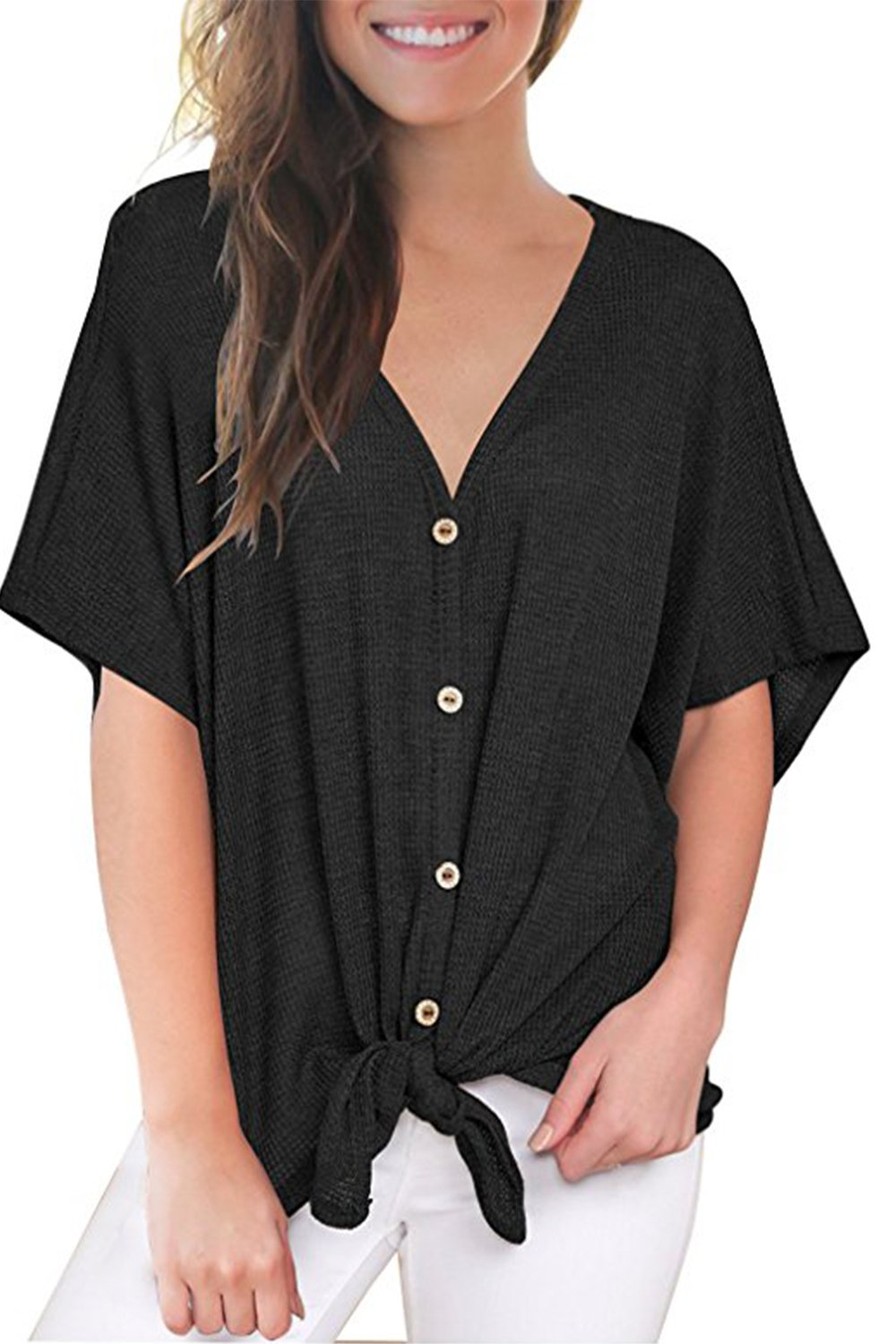 Ailixi Womens Short Sleeve Button Down Shirt Casual Loose Blouse Top Sweater With Tie Knot Front