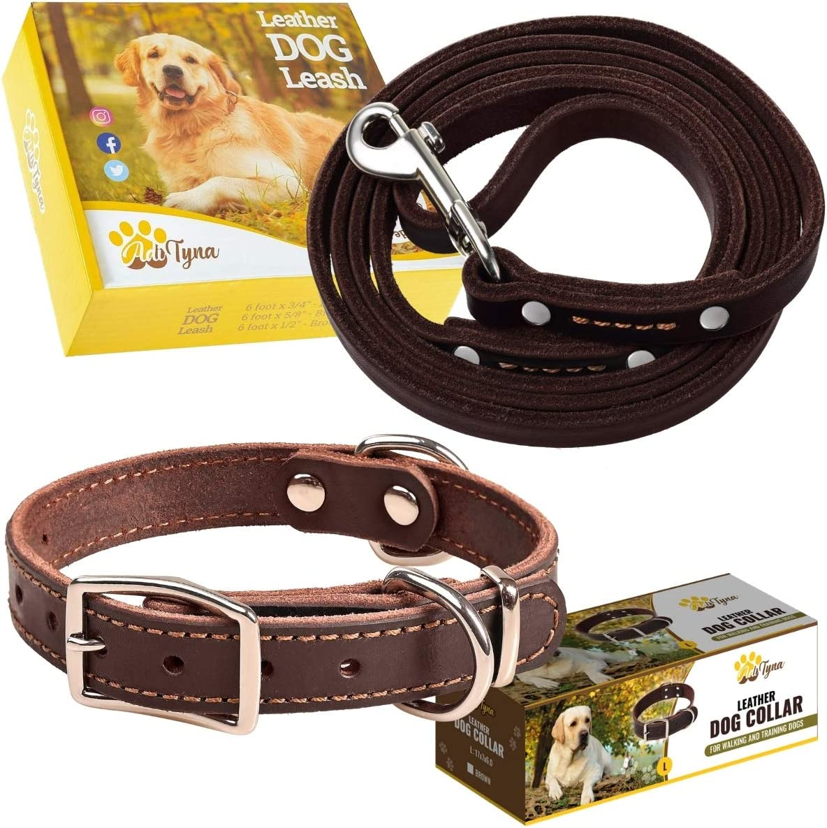 Leather Dog collar and leash set gift for dogs nylon used 4 size and 7 color options