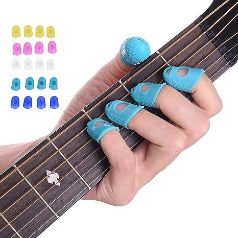 Malayas® 4 Unidades Protector de Dedos para Guitarra Eléctrica Acustica Clásica Bajo Ukulele Protectores Profesionales