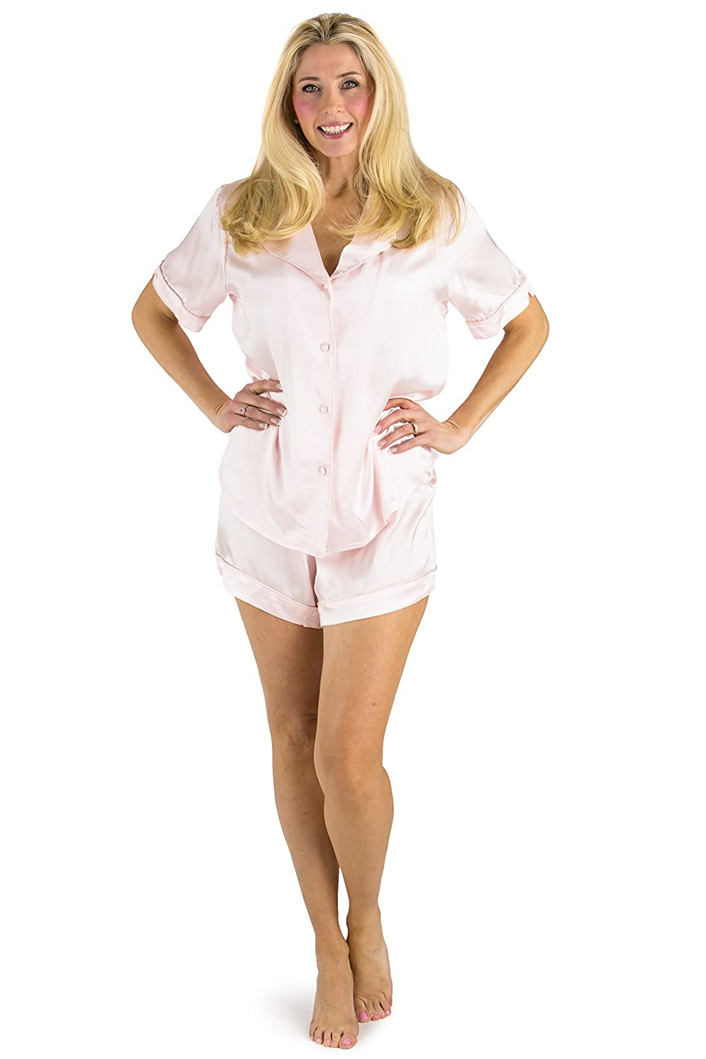 Fishers Finery Women's Short Sleeve Silk Pajama Set