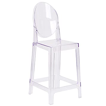 Marvelous Flash Furniture Ghost Counter Stool With Oval Back In Transparent Crystal Machost Co Dining Chair Design Ideas Machostcouk