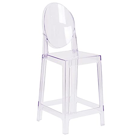 Flash Furniture Ghost Counter Stool with Oval Back in Transparent Crystal