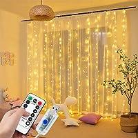 DANGZW Kurtyna świetlna LED, 3 m × 3 m, 300 diod LED, zasilanie USB, wodoszczelny łańcuch świetlny LED z pilotem…