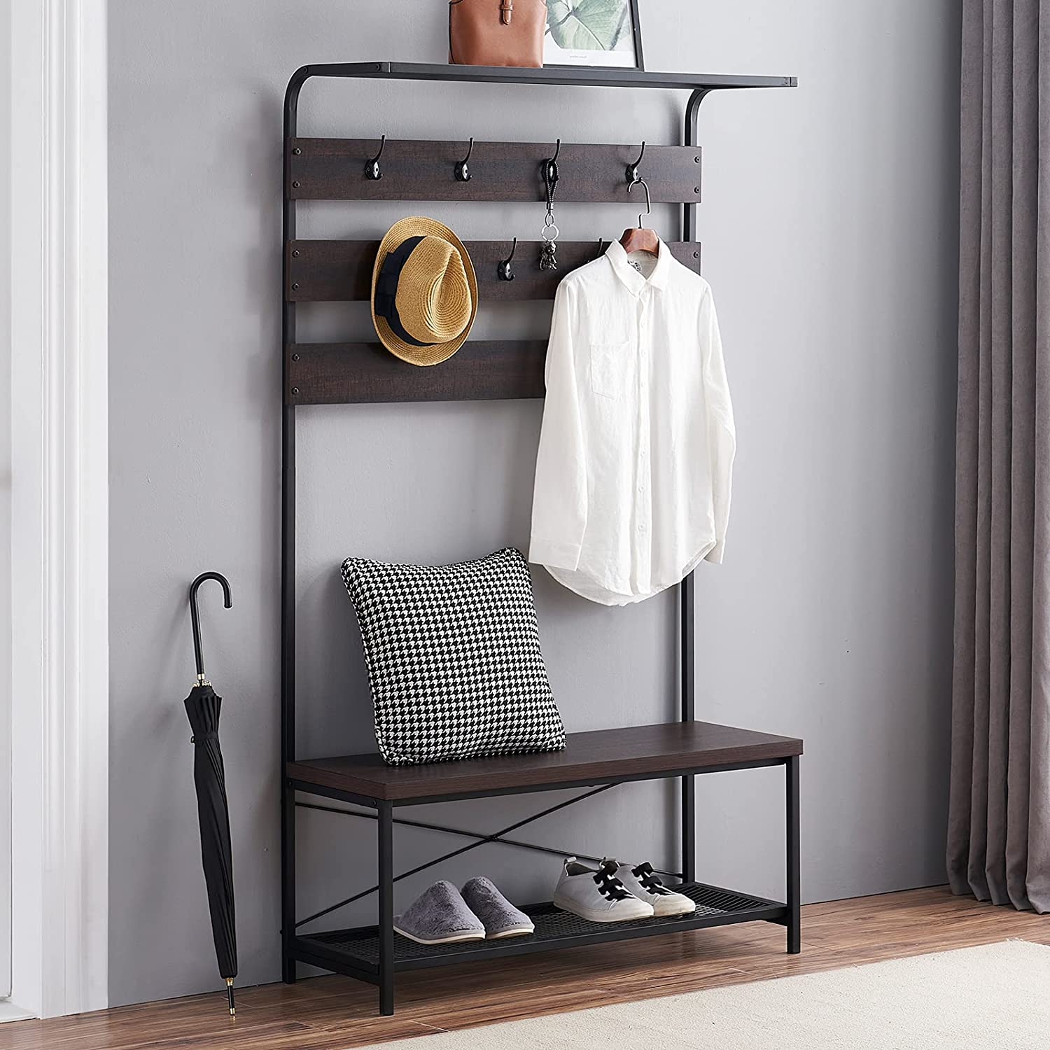 MHAOSEHU Entryway Coat Rack Bench, Modern Hall Tree with Storage Bench, Wood and Metal Hallway Bench with Coat Rack, Espresso 3-in-1 Design: Home Improvement