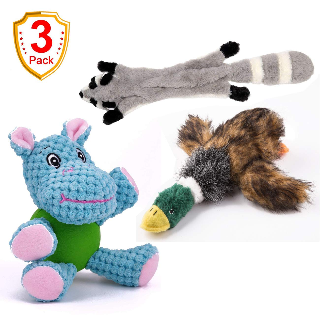 3 Pack Dog Toys EETOYS 3 Pack Durable Plush Dog Toys with Chew Guard Rubber Ball for Small Dogs Interaction Training(Hippo No Stuffing Squeaky Plush Dog Toy(Raccoon) Chew Toy with Cartoon Plush Squeaking Style(Duck)