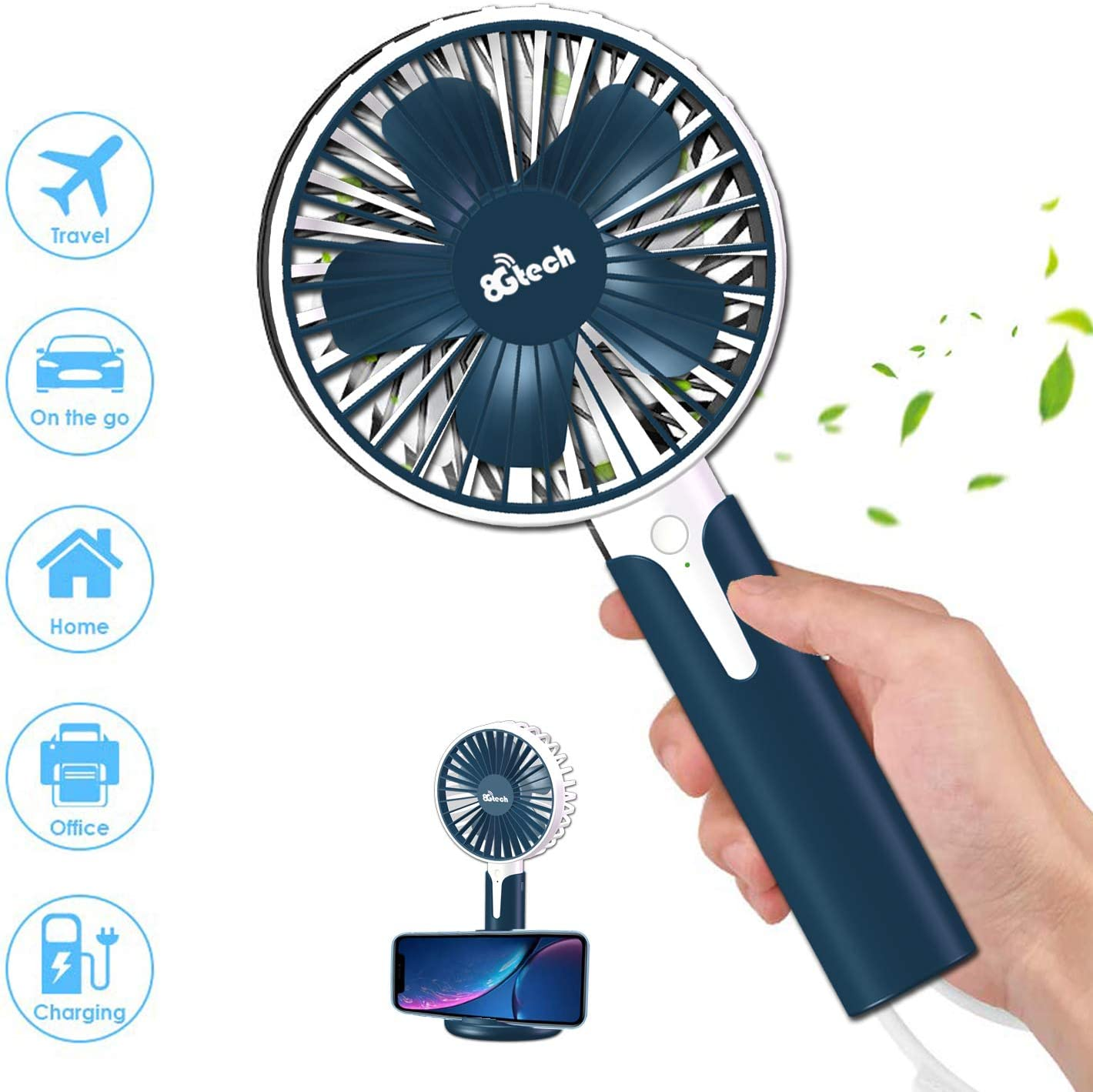 8Gtech Mini Handheld Fan, Desk Fan,Portable Personal Fan and Small Fan Stroller Table Fan with USB Rechargeable Battery Operated Cooling Electric Fan for Travel Office Room Outdoor Household