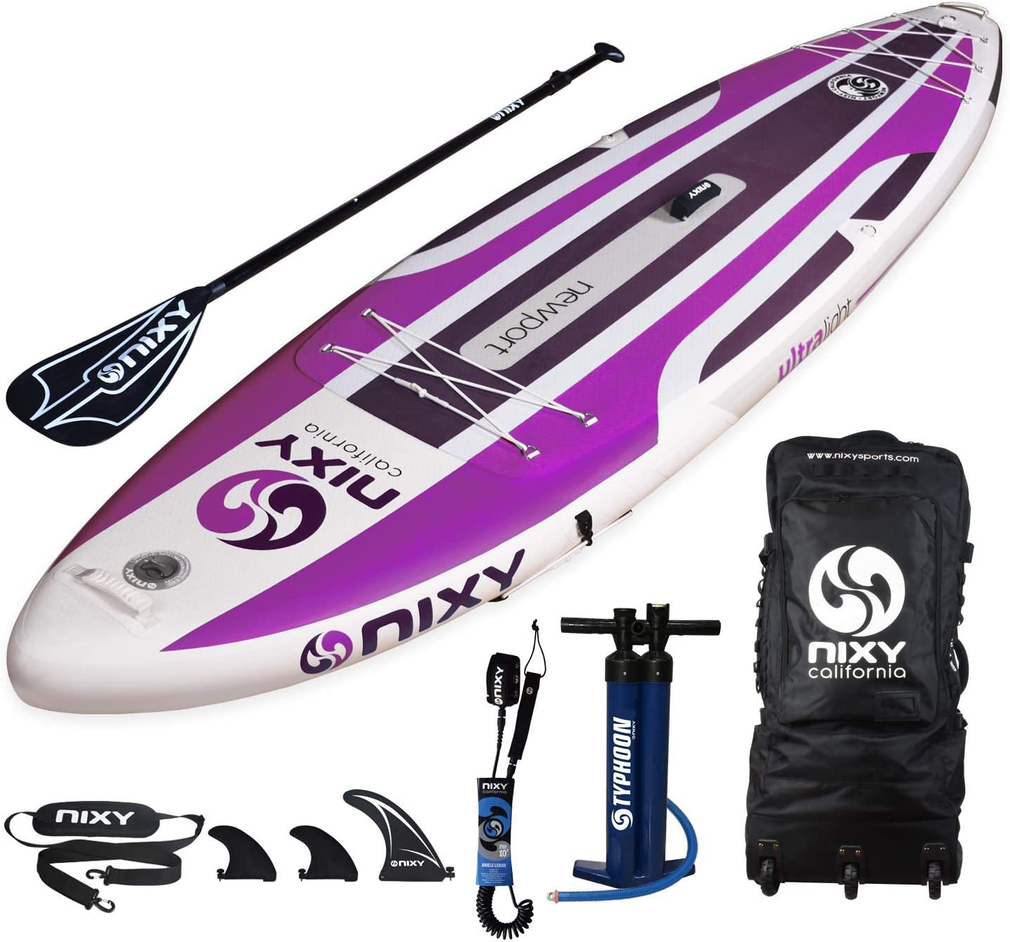 NIXY Newport Inflatable Stand Up Paddle Board. All Around Lightweight Premium SUP built with the Latest Dropstitch Technology. All Accessories included Paddle, Leash, Pump, Shoulder Strap, Carry Bag
