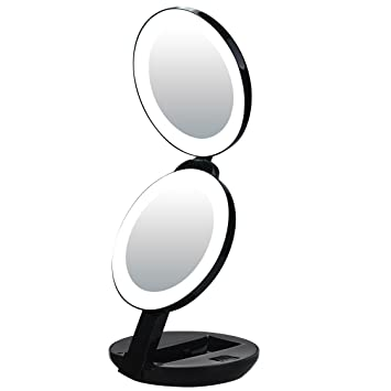 Amazon Com Led Lighted Travel Makeup Magnifying Mirror Magnifies