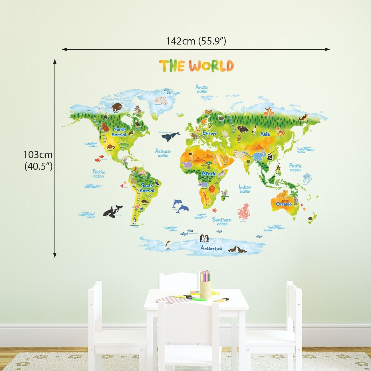 DECOWALL DMT-1715S Geological World Map with Animals Kids Wall Stickers Wall Decals Peel and Stick Removable Wall Stickers for Kids Nursery Bedroom Living Room Large