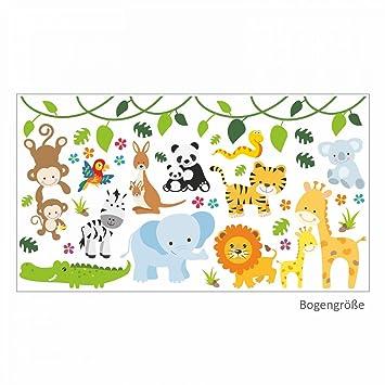 nikima - 013 Wandtattoo Baby Tiere Löwe Elefant Giraffe AFFE - in 6 Größen  - Kinderzimmer Sticker Babyzimmer Wandaufkleber niedliche Wandsticker ...