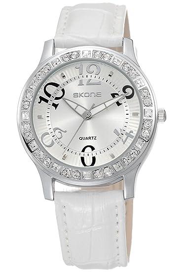 Skone Mujer Relojes Cuero Rosa Azul Rojo Blanco Colores Analogico Quartz: Amazon.es: Relojes
