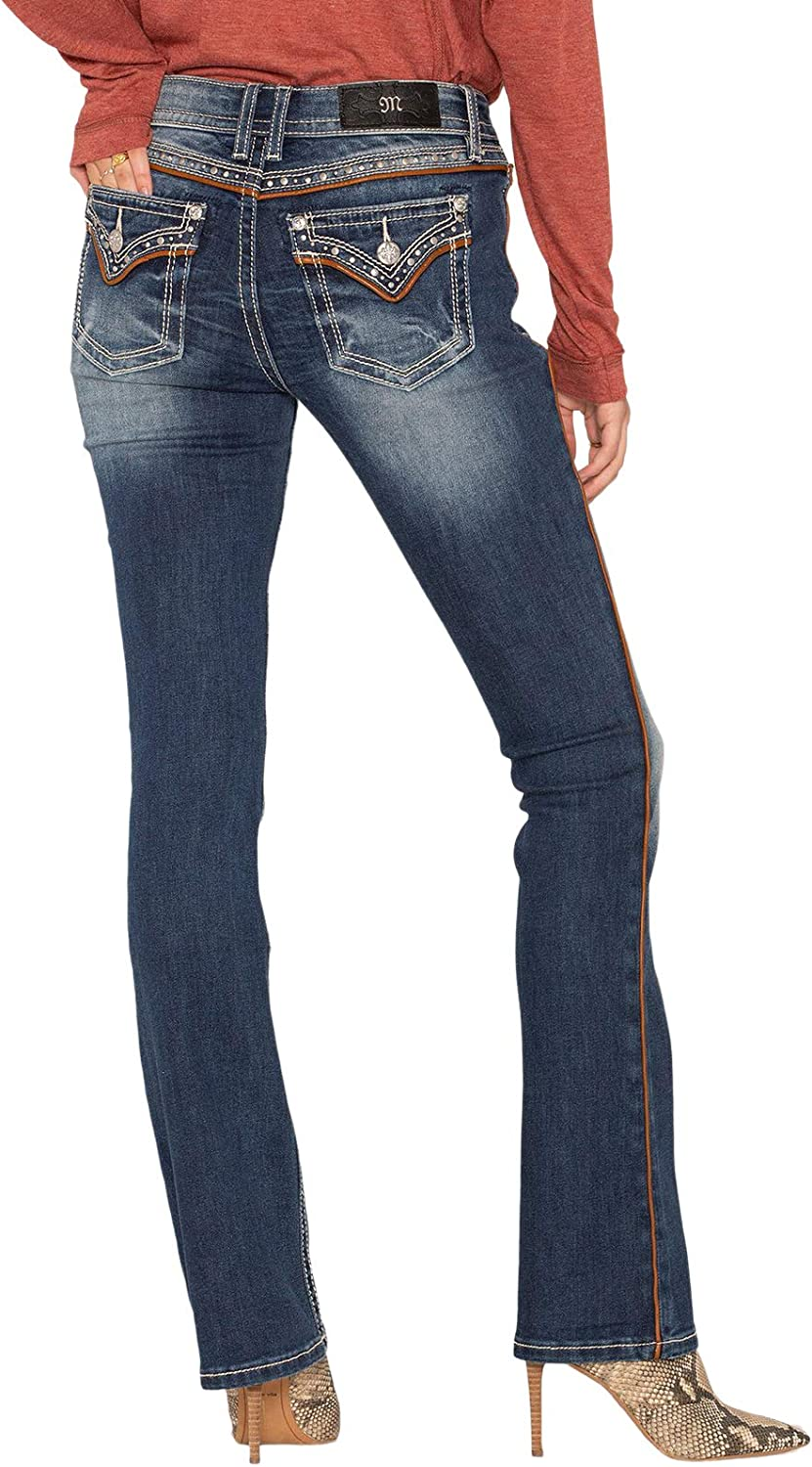 Miss Me Western Feeling Dark Wash Bootcut Jeans up to Size 32,33,34