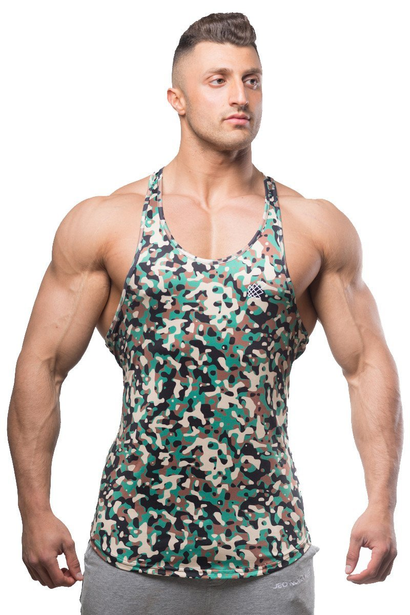 Jed North Bodybuilding Tank Top Gym Stringer Y-Back Muscle Racerback,Camo,Small