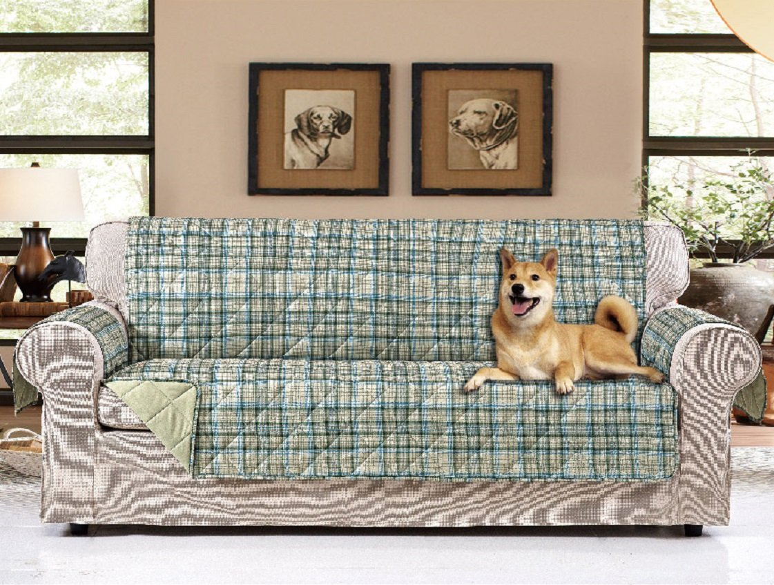 """American Home Reversible Slipcover Furniture Protector with Removable Elastic Strap - Protection from Soils, Spills, Stains and Pets - Plaid Collection (Sofa (124"""" x 70""""), Melrose (Sage))"""