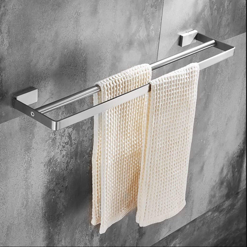 FuweiEncore Handtuchhalter 304 Edelstahl Single Pole Handtuchhalter Badezimmer Handtuchhalter WC Doppel Handtuchhalter Dicker Anhänger (Größe  500mm  130mm) (Größe   600mm130mm)