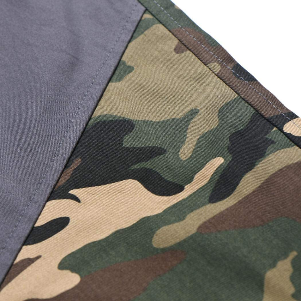iLXHD Fashion Mens Ankle-Length Pants Sport Camouflage Lashing Belts Casual Loose Sweatpants Drawstring Pant