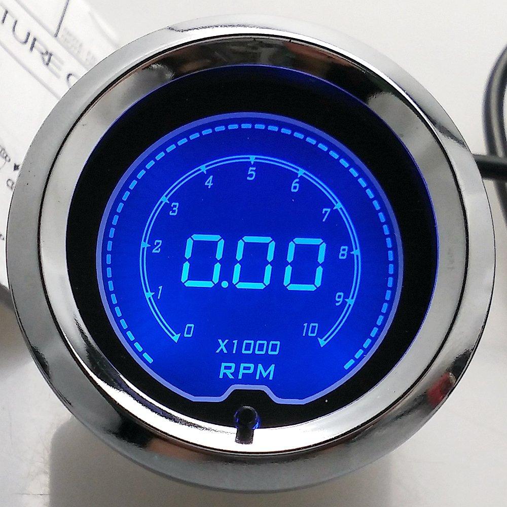 IZTOSS 2' 52mm Blue 7 Color LED Light Turbo Boost Gauge Vacuum Car Digital Meter Smoke Len