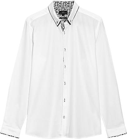next Hombre Camisa Casual Dos Cuellos Manga Larga Puño Simple De Algodón: Amazon.es: Ropa y accesorios