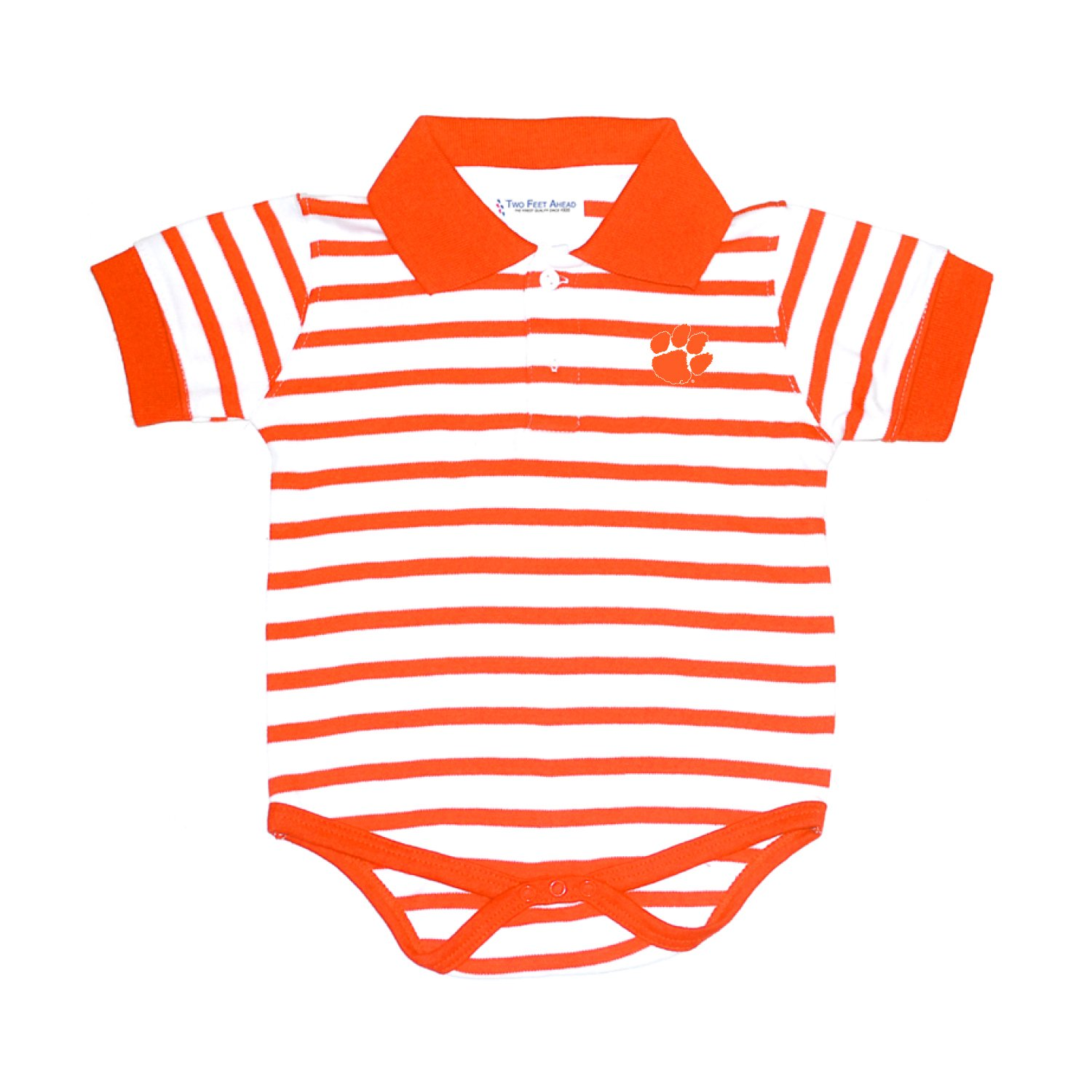 Two Feet Ahead Clemson Tigers Orange Striped NCAA College Newborn Infant Baby Creeper