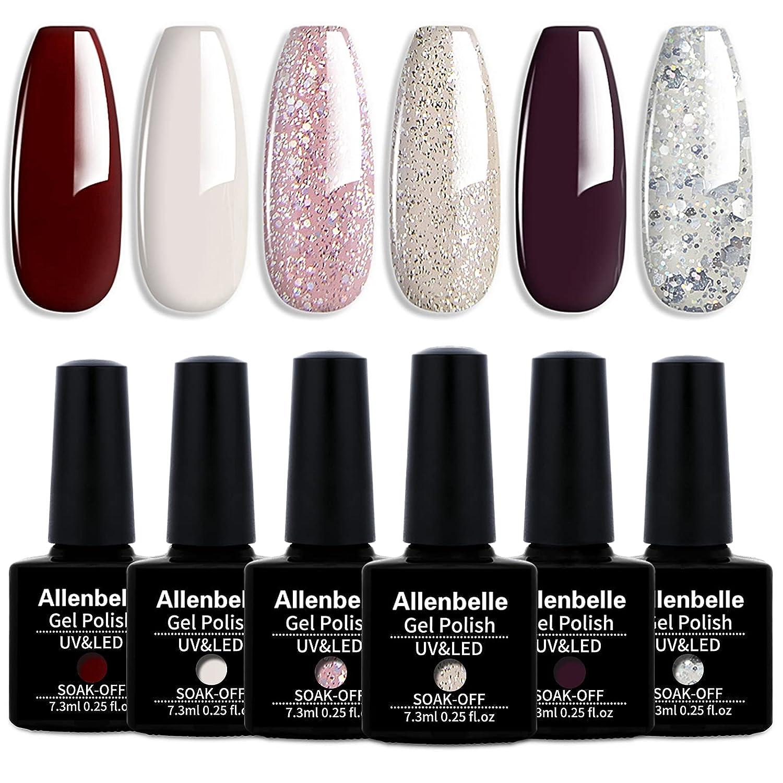 Allenbelle Gel Nail Polish Set 6PCS UV LED Soak Off Gel Polish Collection Color Nail Art Manicure Varnish (002)