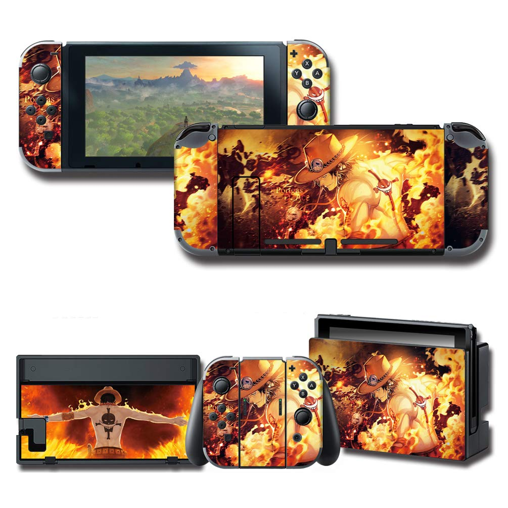 GilGames Skin Decal for Nintendo Switch, Anime Protector Wrap Protective Faceplate Full Set Stickers Console Joy-Con Dock