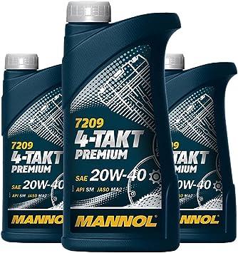 Mannol 3 X 1l 7209 4 Stroke Premium Sae 20w 40 Jaso Ma2 Api Sm Motorcycle Oil Mineral Auto