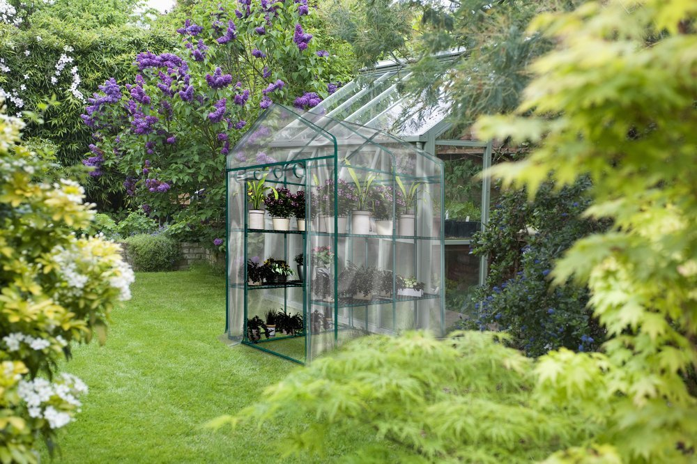 MTB Outdoor Portable Walk-in Garden Greenhouse 2 Tiers 8 Shelves with PVC Cover - 56'' Lx56 Wx77 H by MTB SUPPLY