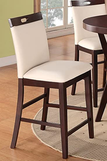 High Quality Poundex Modern Counter Height Dining Side Chair, Cream Faux Leather, Set Of  2
