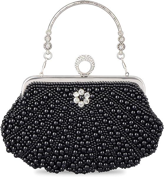 Baglamor Women s Pearl Crystal Bag Wedding Party Clutch Handbag Luxury  Purses(Black) aeb2e882ad60