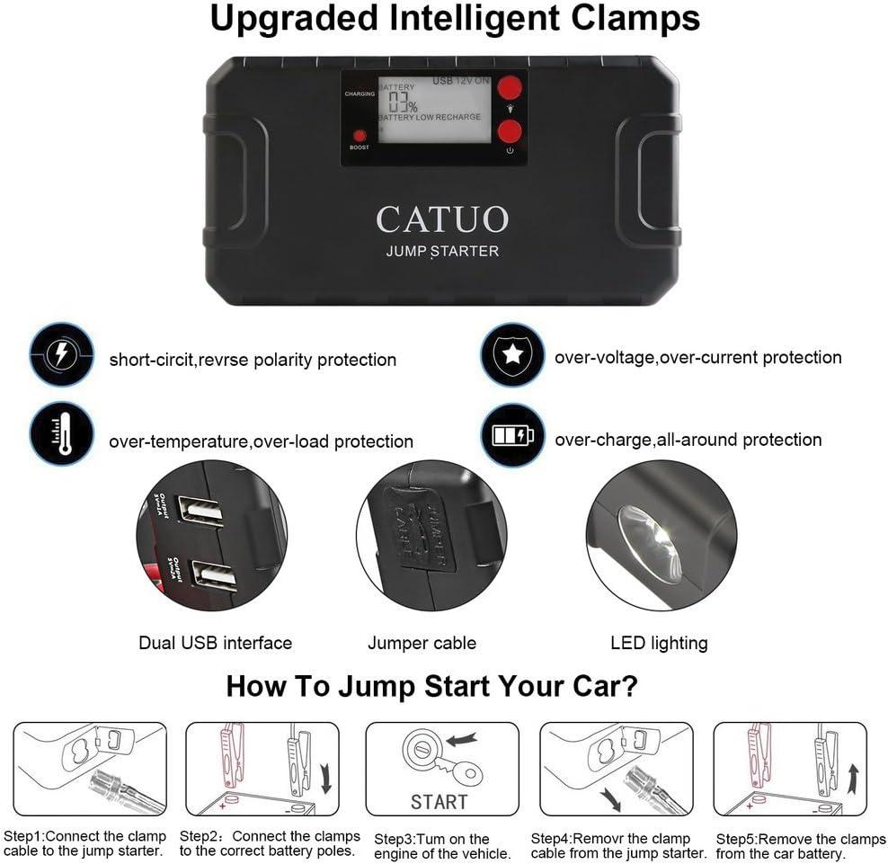 CATUO 13600mAh 500A Jump Starter D/émarrage de Voiture Booster Batterie Alimentation El/éctrique dUrgence pour Voiture Camion Moto Bateau Automobile avec LED Flashlight Noir
