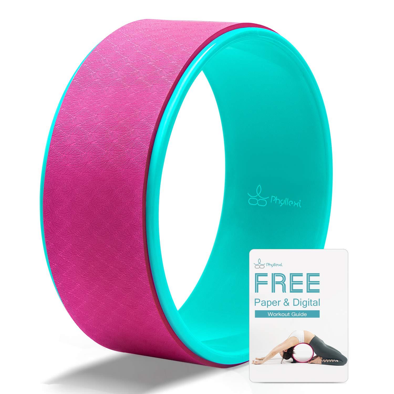 PHYLLEXI Ruota Yoga per Mal di Schiena Guida allAllenamento Inclusa Forte e Confortevole Grande Yoga Wheel di Livello Professionale Migliorare Flessione del Dorso